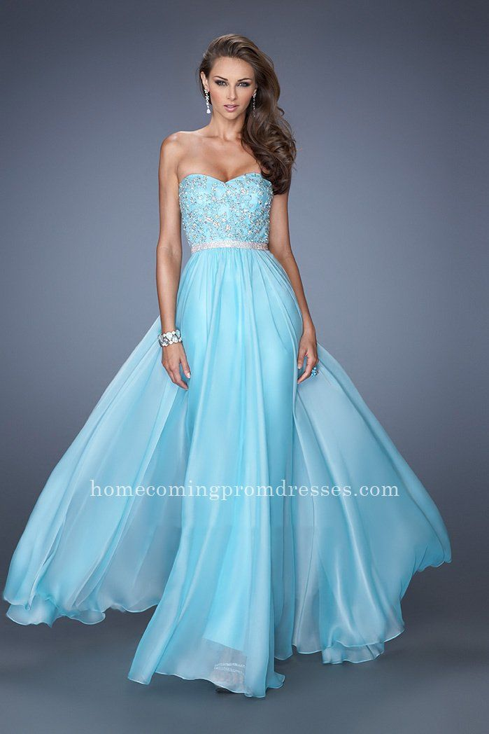 La Femme 19437 Aqua Beaded Strapless Chiffon Evening Dresses [LF-19437] - $169.00 : Prom Dresses | Homecoming Dresses