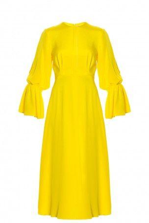 roksanda freya frill dress in yellow modesens