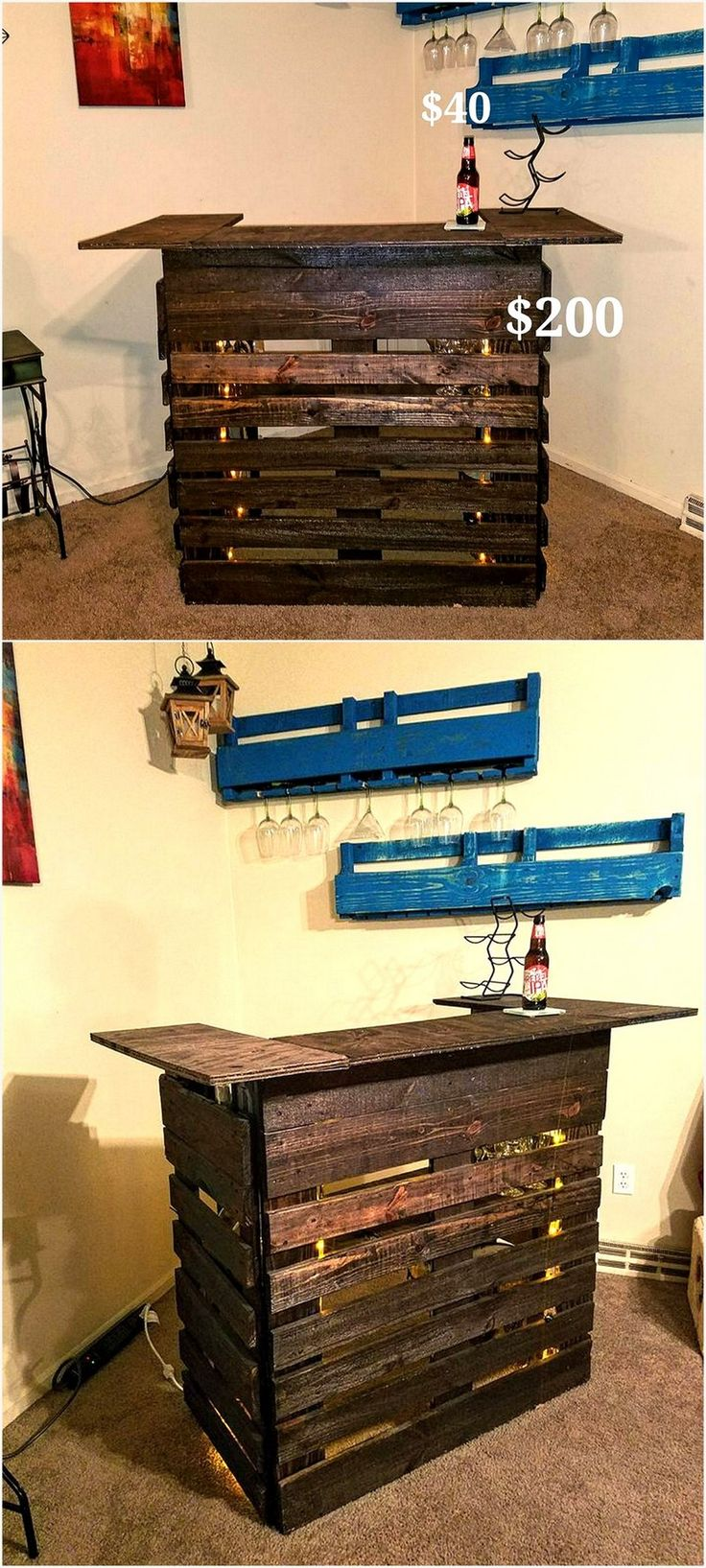 Custom pallet bar with lighting. Any stain, paint or distressing available to your choosing