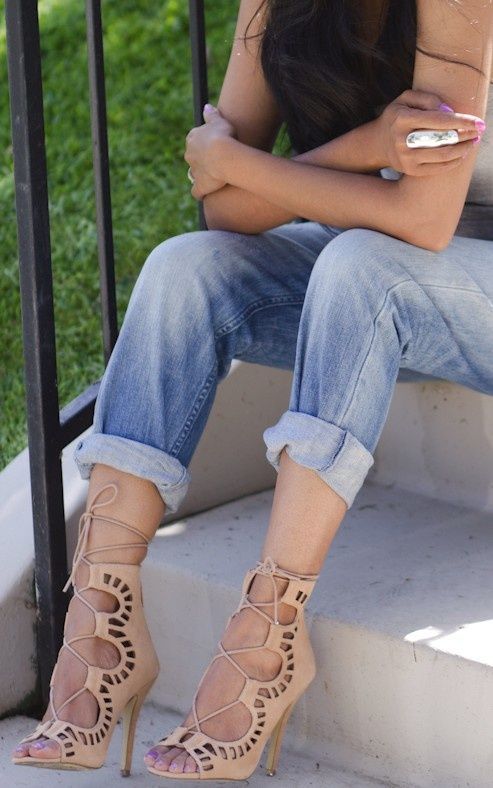 Nude Lace-Up Heels ❥I love the roll up jeans on for these shoes