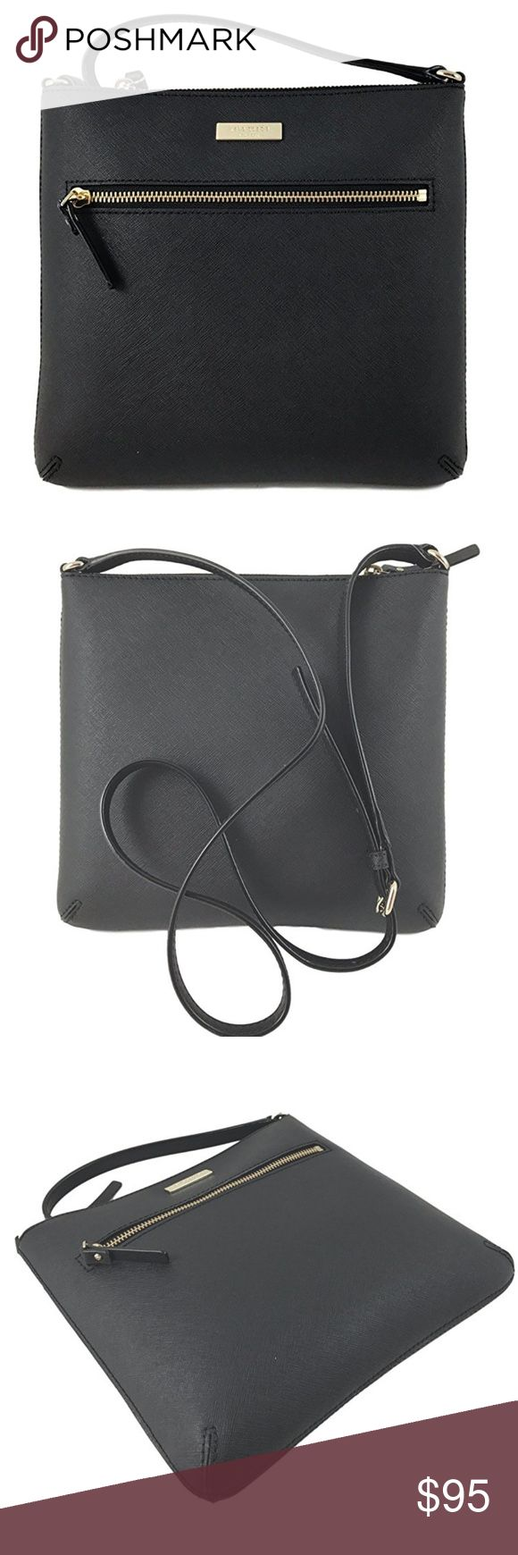 "Kate Spade Laurel Way Rima Crossbody Best Price Online!! Saffiano Leather with gold tone hardware. Interior: Fabric lining, 1 zip pocket, and 1 slip pocket. Exterior 1 full length zipper pocket. Approximate dimensions: 10"" (L) x 9"" (H) x 2"" (D) with Adjustable Crossbody strap drops 21""-23"" Top zip closure kate spade Bags"