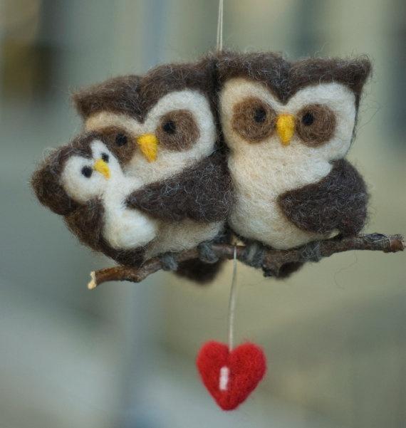 Needle felted Owl ornament