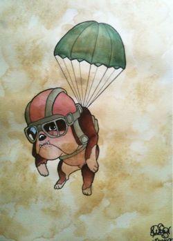 Bulldog tattoo for my grandma. I like the cartoon image but the parachute is unnecessary.