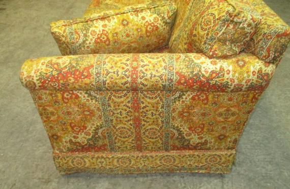 Retro Fabric Davenport Couch Sofa Vintage 60s 70s Danish Modern Furniture A Retro Fabric Vintage Sofa Sofa Couch