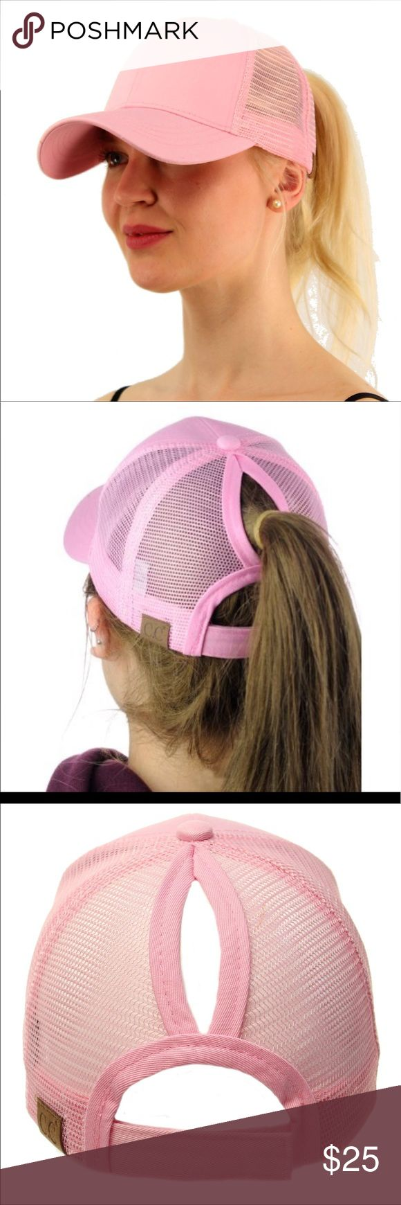 """🆕 Ponycap Messy High Bun Ponytail Mesh Cap One size fits most with adjustable hook and loop fastener. Ponytail slot: 3"""" by 5"""". Perfect for pulling your messy bun or high ponytail through. Simply pull hair through slot and adjust to desired style. Even suitable for man buns! This listing is for pink. Boutique Accessories Hats"""