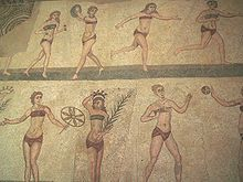 A famous bikini mosaic from Villa Romana del Casale in Sicily ( Pars Latinium Pars Orientis) Greco-Roman, 4th century AD Photo source: Andreas Wahra (own work) and AlMare, via ... As the Ancient Greeks believes that the red colour or red underwear tape (obereg) protect the boby and the spirit.