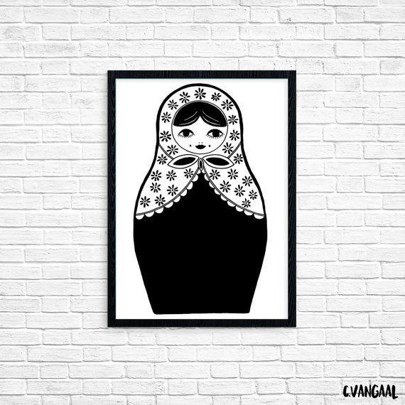 Foil Babushka Doll Print