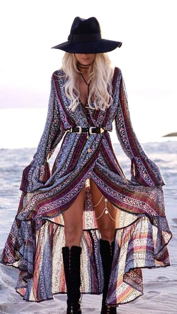 Long boho dress, Coachella style, Coachella dress, Long slit dress, Gypsy dress, Festival look, Coachella fashion