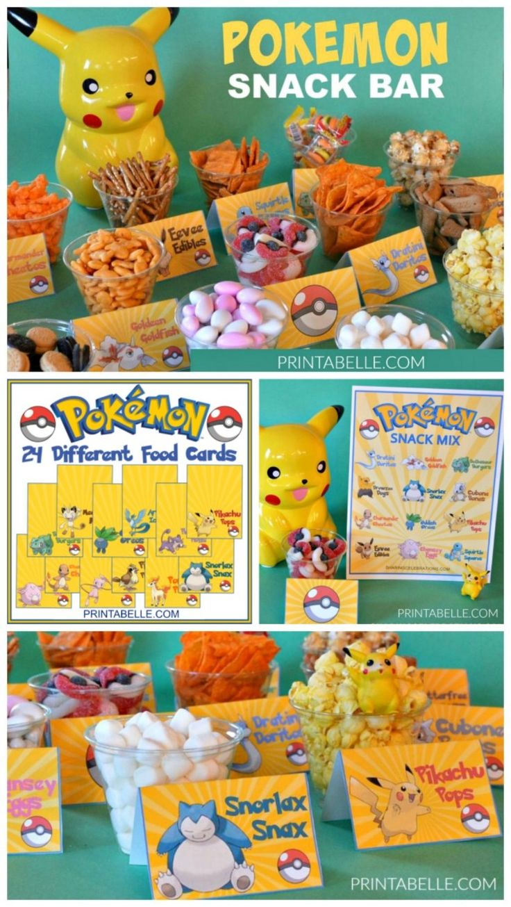 Pokemon Food Cards Snack Bar! Fast and easy party idea!