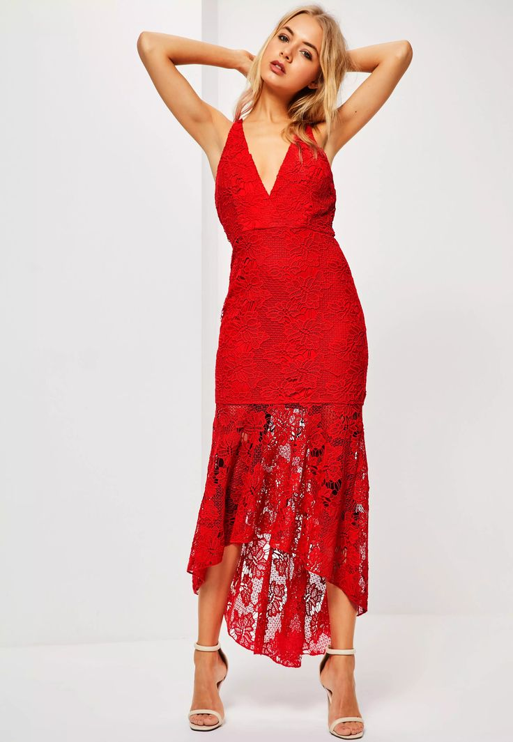 Don't be just a bridesmaid, be a cool one. Dare to bare in this maxi dress for a renewed and contemporary take on bridesmaid dresses - featuring a deep plunge neck, subtle fishtail finish, romantic red hue and dropback hem.