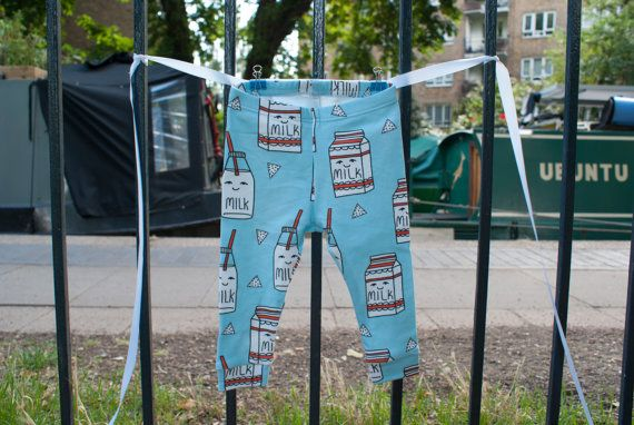 Baby leggings boy/girl Milk carton print organic by InALandFarAway
