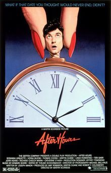 After Hours. Rosanna Arquette, Verna Bloom Thomas Chong, Griffin Dunne, Linda Fiorentino, Teri Garr, John Heard, Richard Cheech Marin, Catherine O'Hara. Directed by Martin Scorsese. The Geffen Company, Double Play Productions. 1985