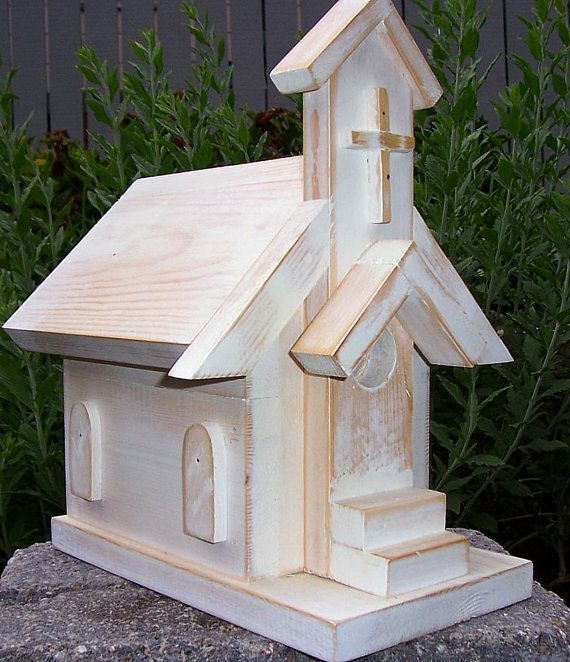 White On White Church Birdhouse Bird Houses Bird House