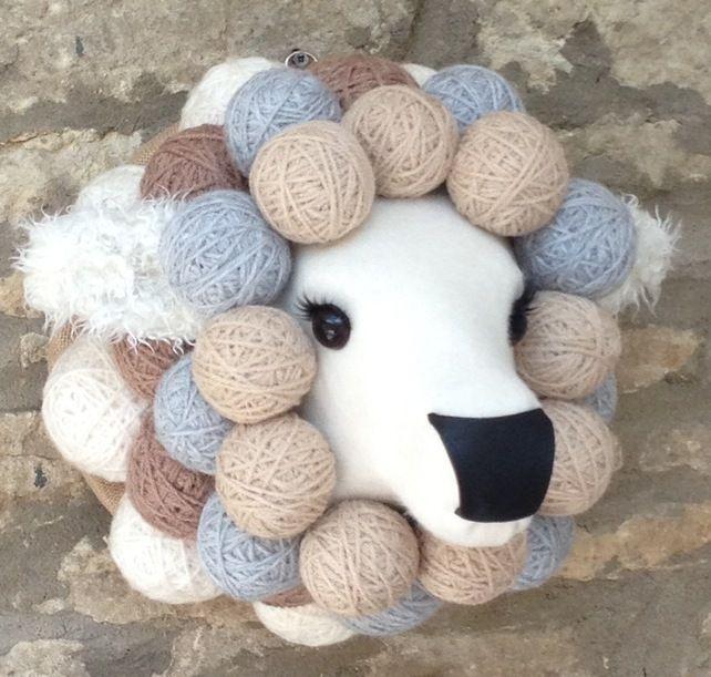 Faux taxidermy fabric Ba Ba sheep animal head wall mount £95.00 #folksyfriday