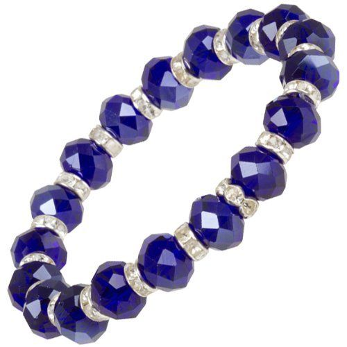 "Heirloom Finds Deep Sapphire Blue Lux Crystal Sparkle Stretch Bracelet with Crystal Rondels Heirloom Finds. $9.99. Arrives Gift Boxed!. 10mm Faceted Crystal Beads. Bracelet will fit most wrists, measures 7"" upstretched. Splash of Color to Enhance Any Look. Wear alone or layer with other bracelets or your watch"