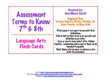 7th-8th Language Arts Terms Flash Cards or a Matching Game $3