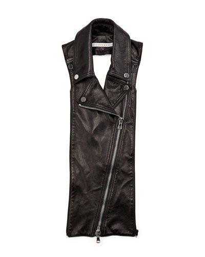 VERONICA BEARD BIKER LEATHER LAPEL DICKEY, BLACK. #veronicabeard #cloth #