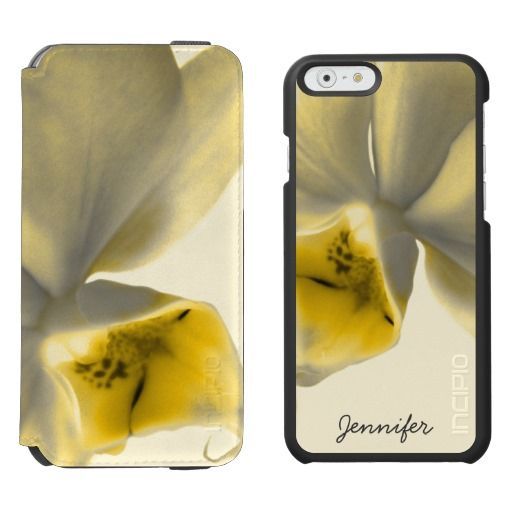 Artistic Flower in Yellow Tones - Custom Name / Incipio Watson™ iPhone 6, 2-in-1 Wallet Case + Interior Case! #fomadesign