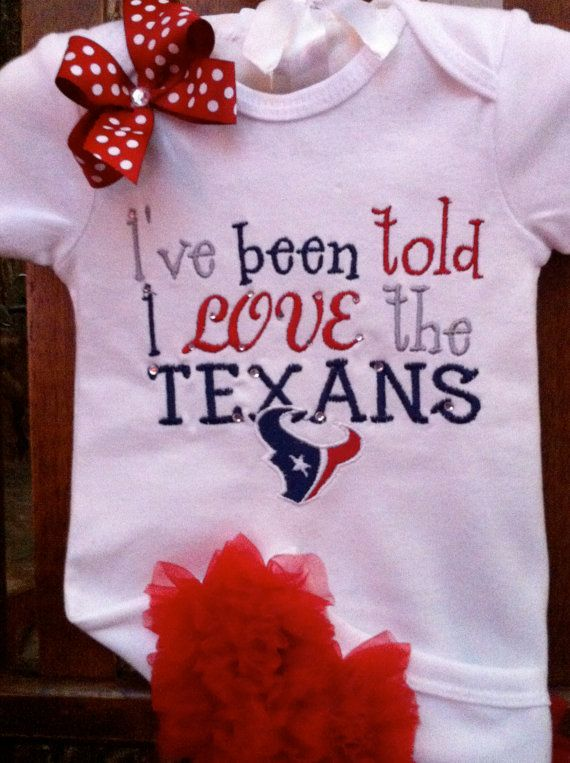 I Love The Texans  Ruffle Butt Onesie or by Gametimebabyboutique, $23.00