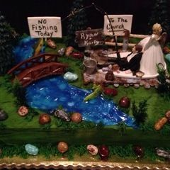 Funny groom's cake- No fishing today. Bride dragging groom to the church.  | CapsuleCam