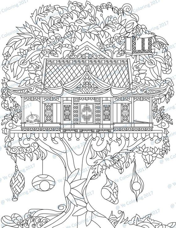 Tree House Coloring Page Printable File Etsy In 2020 House Colouring Pages Coloring Pages Enchanted Forest Coloring Book