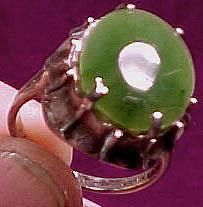 Jade & Sculpted Sterling Ring 1960s  Size 7