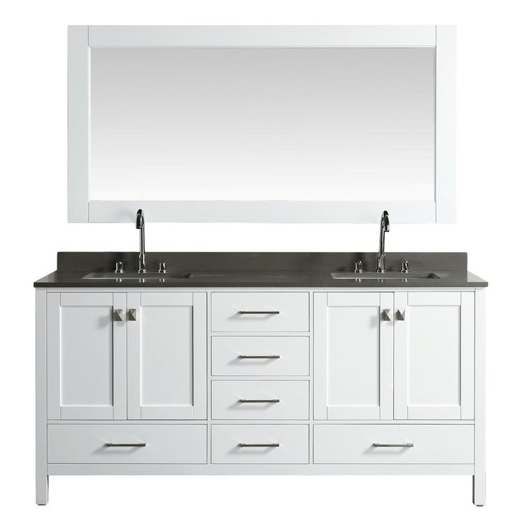Design Element London 72 in. W x 22 in. D Vanity in White with Quartz Vanity Top in Gray with White Basin and Mirror