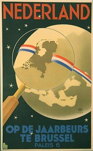 1939 Netherlands Brussels Vintage Belgium Map Travel Poster – Vintage Poster Works: Debra Clifford