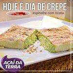 Para um lanche leve no jantar, hoje é dia de crepe no Açaí da Terra @adoroacaidaterra Esse da foto é o crepe de espinafre com ricota. Opção equilibrada para o meio da semana:😄: ▃▃▃▃▃▃▃▃▃▃▃▃▃▃▃▃▃▃▃▃ Fique de olho nos TOP 5 - todo dia uma deliciosa promoção: SEG>> Wrap Siciliano TER>> Chocoaçaí QUA>> Crepe QUI>> Açaí Split SEX>> Frango CheddarDelivery: 3214-5080Horário de funcionamento: Av. Liberdade (loja e delivery): todos os dias das 11h às 22h45, exceto às quartas, das 15h às 22h45…