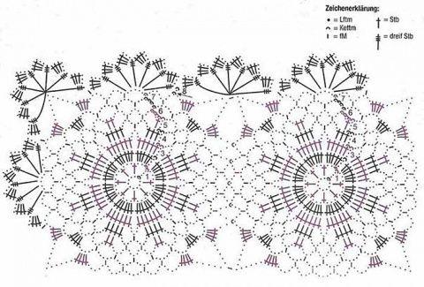 схема вязания мотивов и салфетки