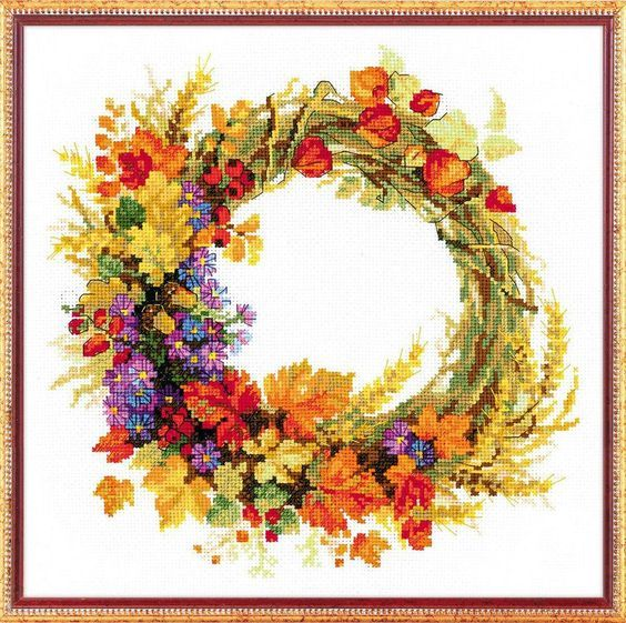 Wreath with Wheat by Riolis, counted cross stitch kit