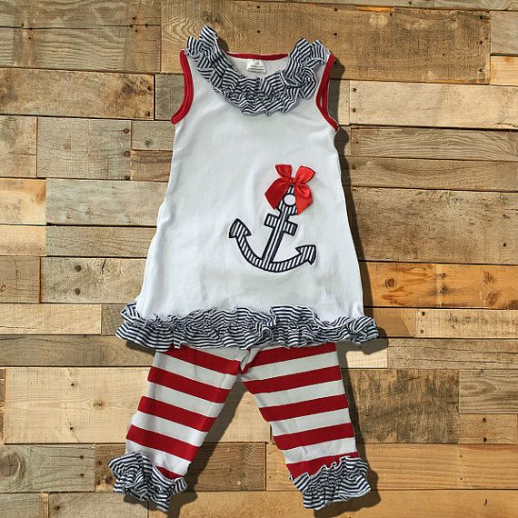 Baby Girl Striped Nautical Anchor Outfit. MONOGRAM If you add monogram or a name please add the info to the note section of your order. Not doing so will delay your shipment. Monogram/Name placement a