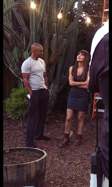 Shemar Moore and Nadine Velazquez on the scene of the Bounce Back