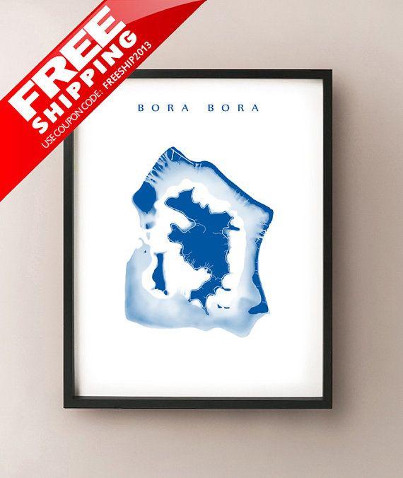 Bora Bora Map - Leeward, Society Islands, French Polynesia Art - Vaitape, Mount Pahia,  Mount Otemanu, Papeete, Tahiti, Pora Pora, Volcano