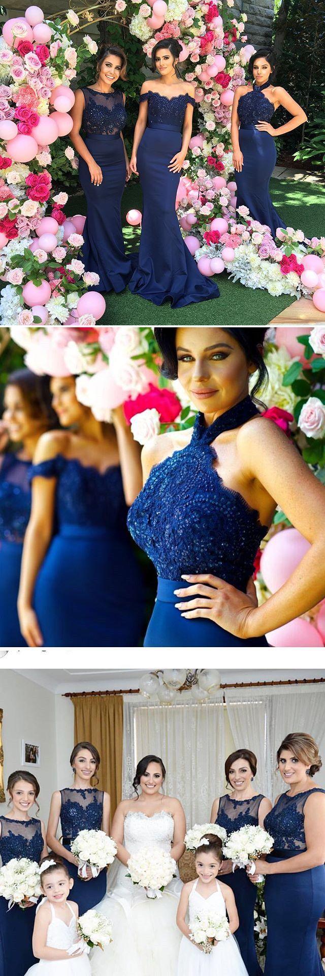 navy blue bridesmaid dresses, mermaid long bridesmaid dresses, prom dresses, evening dresses, party dresses