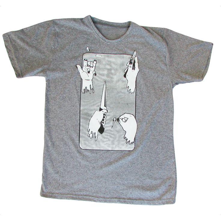 Polera Manos - Franela de algodón Gris deportivo Color gris  Tallas S, M, L, XL  Hola@clubparticular.com