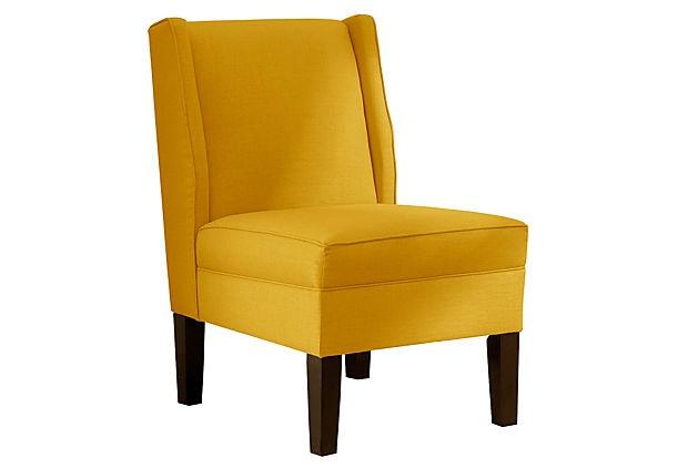 Porter Wingback Chair, Gold on OneKingsLane.com: Dream Room, Onekingslane Com, Decor Wishes, Family Room, Designisneverdone Onekingslane, Accent Chairs, Designisneverdone Porter, Wingback Chairs