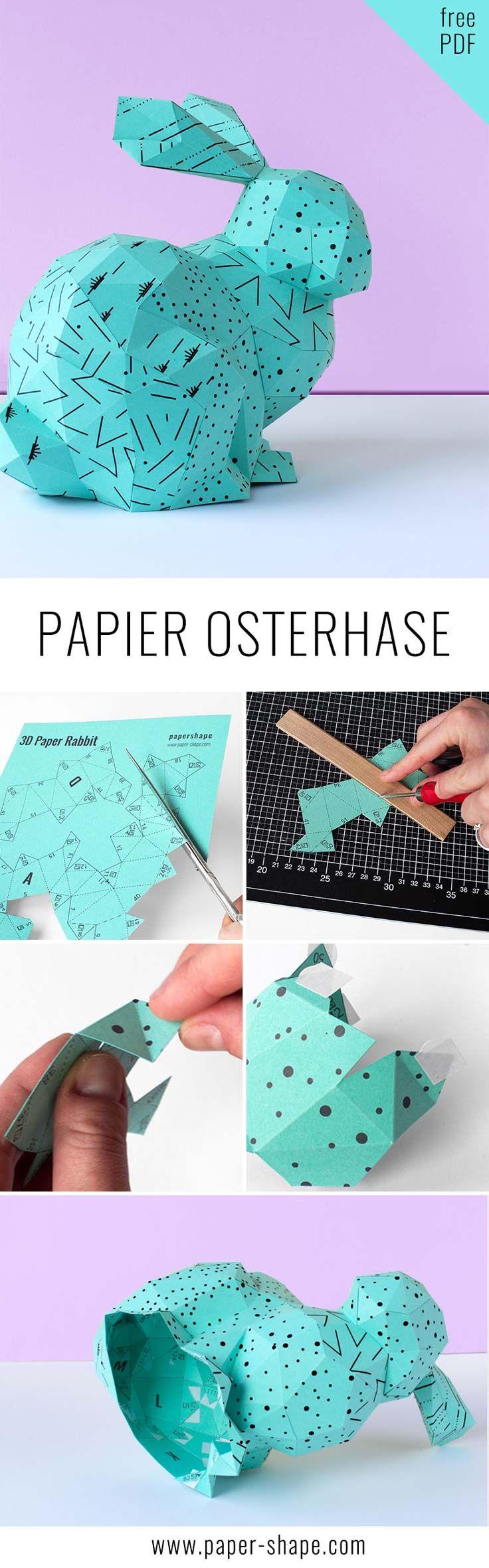 Osterhase basteln aus Papier (mit Vorlage und Bastelanleitung). Das 3D Häschen hat sogar Raum für kleine Ostergeschenk / PaperShape #osterhase #papercraft #osterdeko