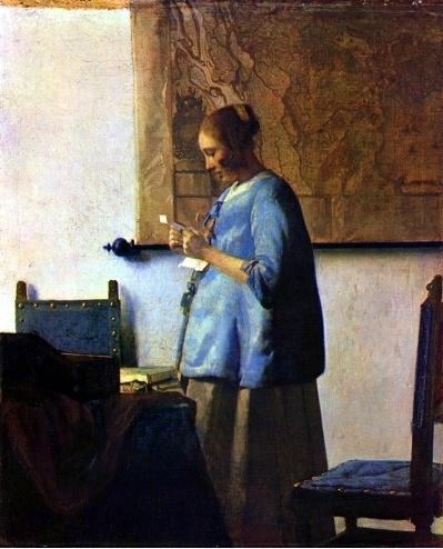 <편지 읽는 여인 by 베르메르> 이 그림의 여인은 의자에 앉지도 않고 편지를 꽉 움켜쥐고 읽고 있다. 그녀는 긴장하고 있는 듯하고, 걱정이 많은 것 같다. 또 편지의 내용이 놀라운지 입은 약간 벌리고 있다. 그녀의 배가 볼록하고 뒤에 세계지도가 걸려있는 것으로 보아 그녀의 남편이 세계를 돌아다니는 무역상이라고 추측해볼 수 있다. 며칠동안 연락이 없어 언제올지 계속해서 기다리던 남편으로부터 온 편지인 듯 하다. 하지만 그녀의 표정으로보아 기쁜 소식이라기 보다는 슬프고 안타까운 소식에 가까운 내용의 편지인 듯하다.