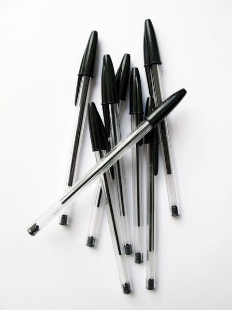 BIC Pens; most of my high school work done in Bic (blue)