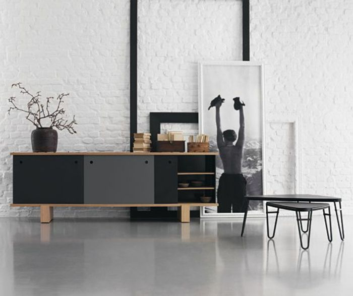 good bahut ikea noir laqu et sol en lino gris pour la salle de sjour with protection mur cuisine. Black Bedroom Furniture Sets. Home Design Ideas