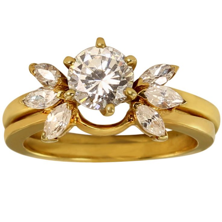 Wrap Ring Enhancer for Solitaire W/ Marquise Shape CZ's In Heavy Plated 14k Gold by fashionjewelzusa on Etsy https://www.etsy.com/listing/235543647/wrap-ring-enhancer-for-solitaire-w