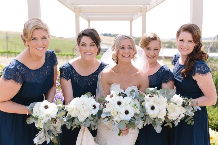 Lace, wedding, anemones, bouquet, bridesmaids, navy