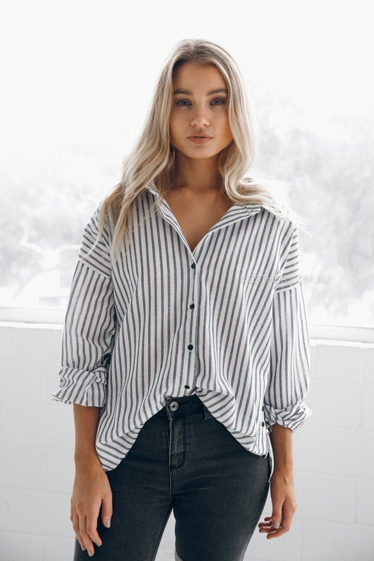 fit: standard sizing, relaxed fit, light weight fabric, unlined, non stretch fabric, buttons in front to close, buttons on side as detailing  colour: black/white stripe  fabric: 65% cotton, 35% linen our model is 163cm tall and is pictured in a size 8/S