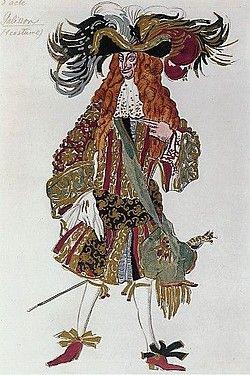 """Costume design (1922), by Léon Bakst [Левъ Самуиловичъ Бакстъ] (1866-1924), for Galisson, in """"Sleeping Beauty"""" [Спящая Красавица] (1889), by Pyotr Tchaikovsky [Петръ Ильичъ Чайковскiй] (1840-1893)."""