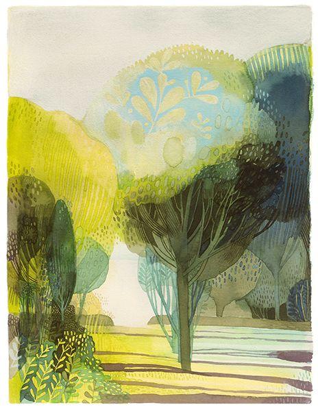 Forêt est une giclée d'art d'une oeuvre au gouache, aquarelle et encre par Isabelle Arsenault, tiré de son livre Jane, le renard, & moi.
