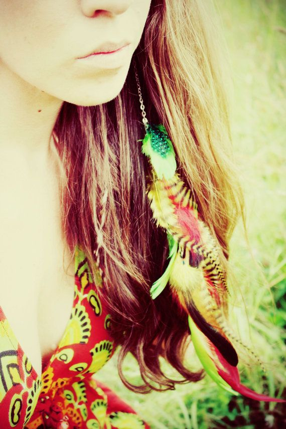 Extra Long Chain Feather Earring or Hair Clip, Rasta colors, 14 inches long, feather symbolism, long feather extensions on Etsy, $25.00