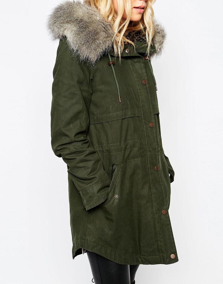 Imagen 3 de Abrigo con capucha en tejido de algodón revestido Lara de Parka London