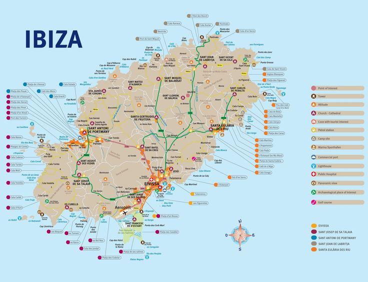 ontheworldmap.com spain islands ibiza ibiza-tourist-map.jpg | Ibiza map, Ibiza travel, Ibiza beach