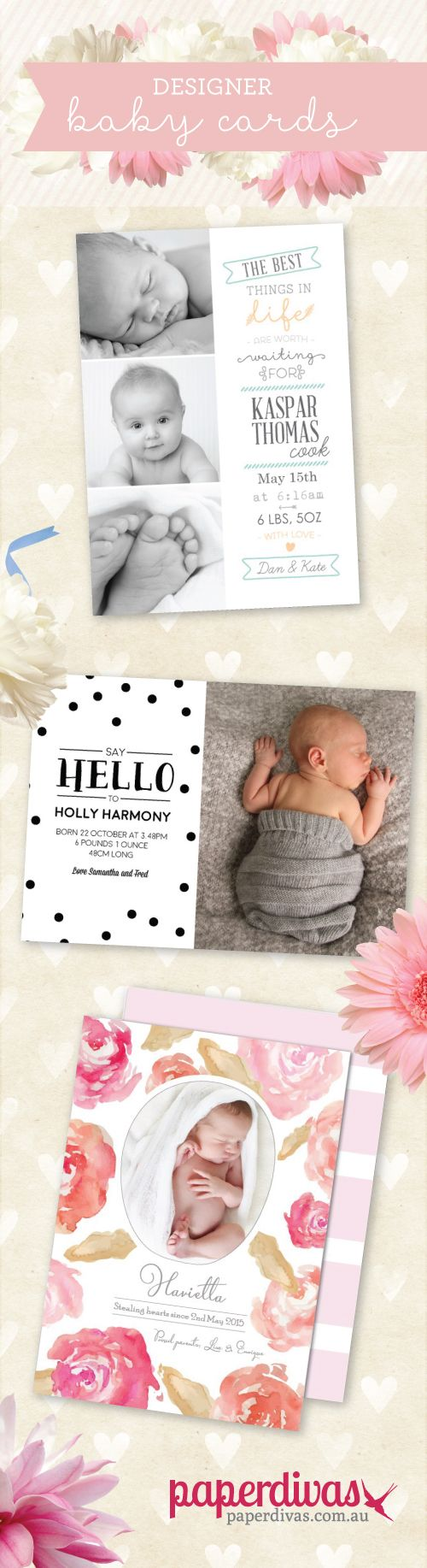 Beautiful Designer Birth Announcement cards from only $1 each!  #baby #newborn #birthannoucement #designer #DIY #trendingbaby